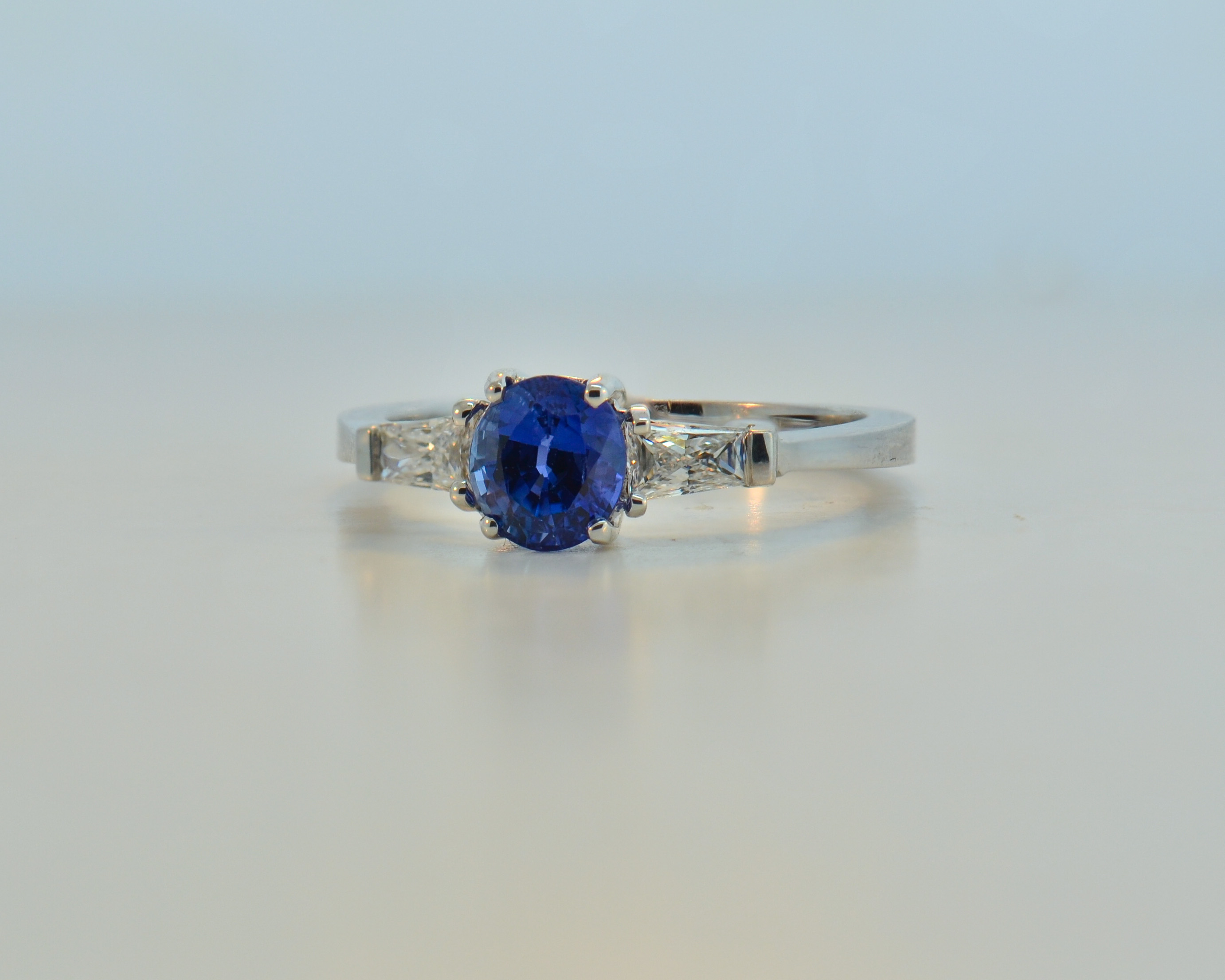 platinum baguette sapphires bands wedding with shape sapphire made custom pin blue