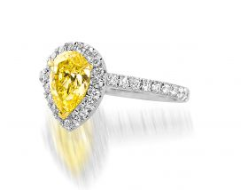 Pear Shape 1.01ct Fancy Yellow (GIA) set in platinum with Pave halo & shank