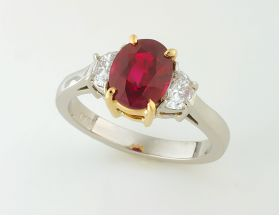 Oval Burma Ruby 2.01ct (H) & Half moon set in platinum & 18Y