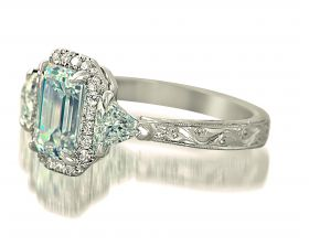 Emerald Cut 1.55ct F VS1 (GIA) set in platinum with a Pave Halo, Trilliant & Engraved Shank