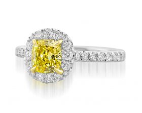 Cushion 0.90ct Fancy Intense Yellow set in Platinum & 18Y with a Pave Halo & shank