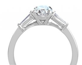 Oval 1.01ct set in platinum with Taper Baguettes