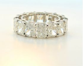 ​Platinum Handmade Radiant Cut Eternity band, 14.27cttw, D-F IF-VS2 (GIA)