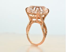 Cushion Morganite 16.93ct (N), set in 14kt Pink with a Pave set basket & infinity shank 0.55ct