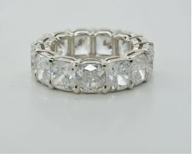 Style# 1412-018, Platinum Handmade Cushion Eternity Band, 13.23ct, D-F, VVS1-VS2 (GIA)