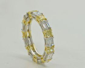 Style#: SP-385, Handmade Platinum & 18kt Yellow, Emerald Cut 2.24ct D-F VS & Cushion 1.56ct Fancy Intense Yellow VS2-SI1